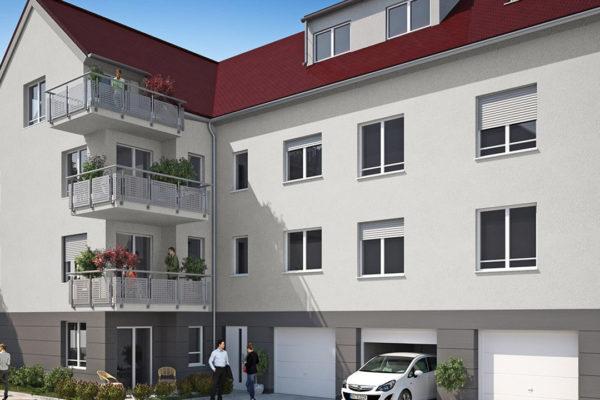 Mehrfamilienhaus in Rastatt, Zugang Bleichstrasse